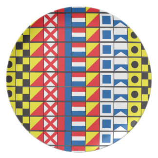 See Worthy_Signal Flags pattern_I Love to sail Dinner Plate