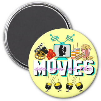 See You At The Movies - Light Background 3 Inch Round Magnet