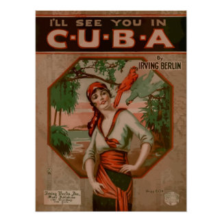 See you in Cuba, retro sheet music cover Poster