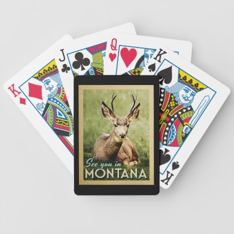 See You In Montana - Stag Deer Wildlife Bicycle Playing Cards
