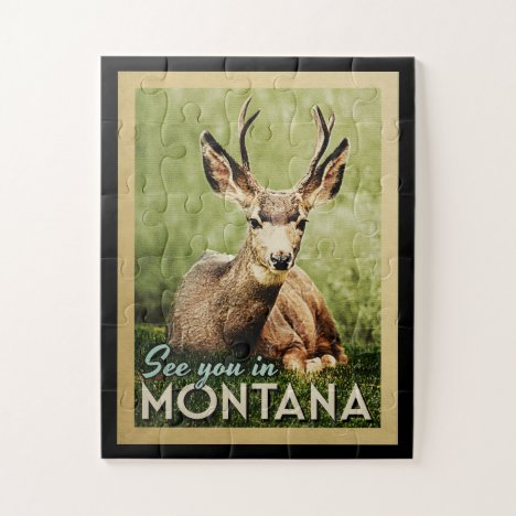 See You In Montana - Stag Deer Wildlife Jigsaw Puzzle