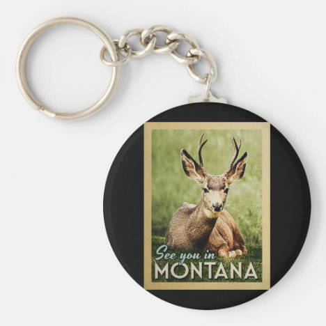 See You In Montana - Stag Deer Wildlife Keychain