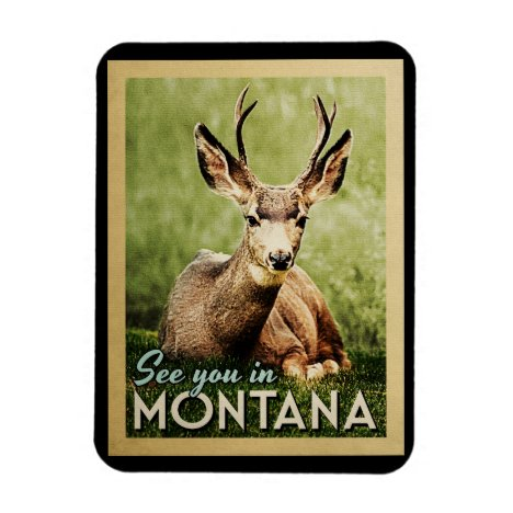 See You In Montana - Stag Deer Wildlife Magnet