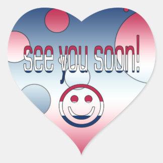 See you Soon! America Flag Colors Pop Art Heart Sticker