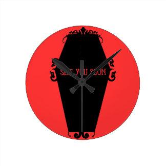 See You Soon Memento Mori Coffin Design Round Clock