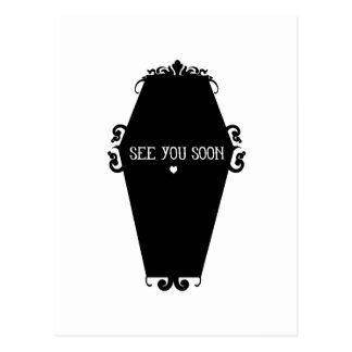 See You Soon Memento Mori Coffin Design Postcard