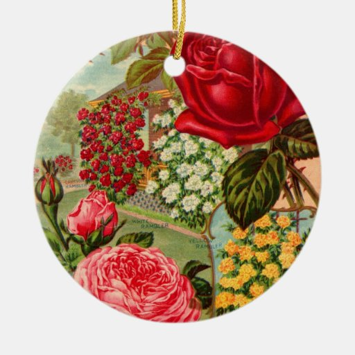 Seed Catalog 12 Double-Sided Ceramic Round Christmas Ornament