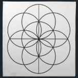 """Seed of Life 2 Lines Cloth Napkin<br><div class=""""desc"""">The Seed of Life represents the seven stages,  steps,  or days of creation. And it also a symbol for creation and fertility.</div>"""