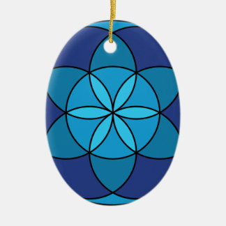 seed of life blue on blue ceramic ornament