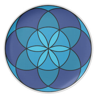 seed of life blue on blue dinner plate