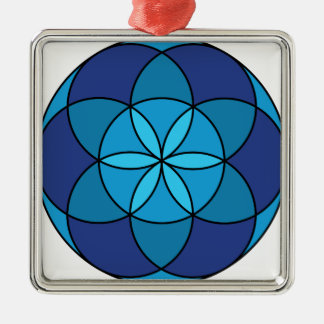 seed of life blue on blue metal ornament
