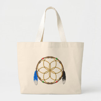 Seed Of Life Dream Catcher Large Tote Bag