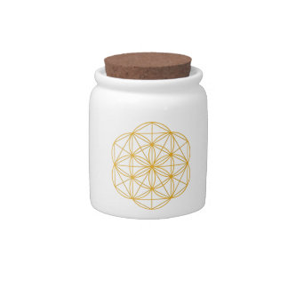 Seed of Life Gold Candy Jar