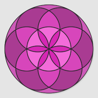 Seed of Life Multi Violet Classic Round Sticker
