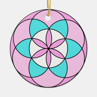 Seed of Life Pink Ceramic Ornament