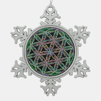 Seed of Life Snowflake Pewter Christmas Ornament