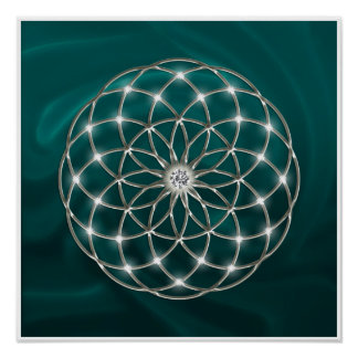Seed OF life - tube torus - Flower OF life - green Poster