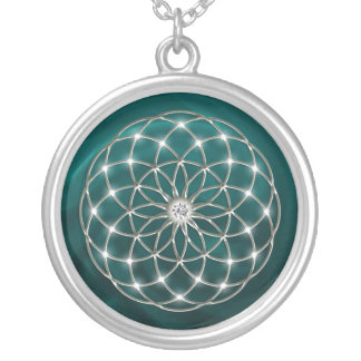 Seed OF life - tube torus - Flower OF life - green Round Pendant Necklace