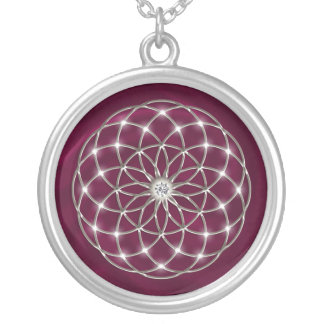 Seed OF life - tube torus - Flower OF life - red Silver Plated Necklace