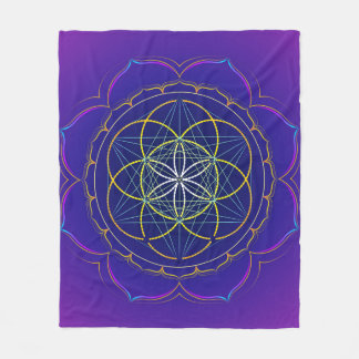 Seed of Life yantra & Metatron's cube mandala Fleece Blanket