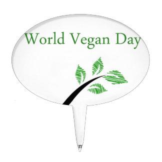 Seedling from a fork- World vegan day November 1 Cake Topper