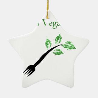 Seedling from a fork- World vegan day November 1 Ceramic Ornament