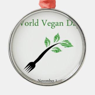 Seedling from a fork- World vegan day November 1 Metal Ornament
