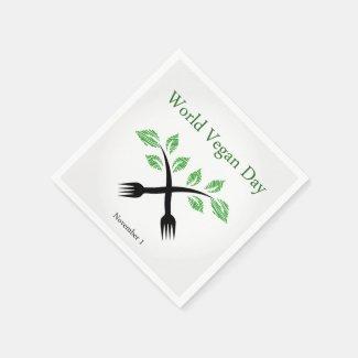 Seedling from a fork- World vegan day November 1 Paper Napkins