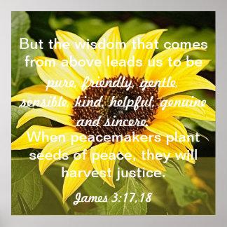 seeds of peace bible verse James 3:17-18 Poster