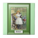 Seeds of the Past; Girl with kittens Ceramic Tile