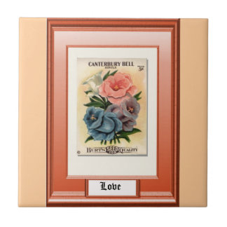 Seeds of the Past; Orange rose Small Square Tile