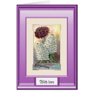 Seeds of the past, Purple and white Greeting Cards