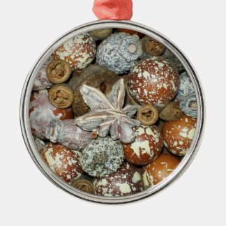Seeds & Pods Round Metal Christmas Ornament