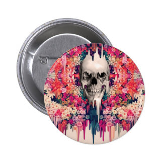 Seeing Color Melting Sugar Skull Pinback Buttons