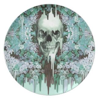 Seeing Color Melting Sugar Skull Melamine Plate