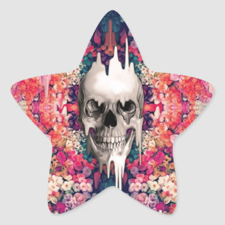 Seeing Color Melting Sugar Skull Star Sticker