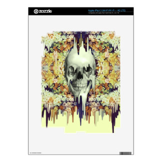 Seeing color, retro melting floral skull decals for iPad 3