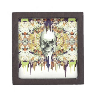 Seeing color, retro melting floral skull keepsake box