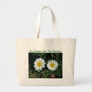 Seeing Double, Daisy, Go Green For The Daisies Large Tote Bag