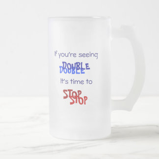 SEEING DOUBLE FROSTED GLASS BEER MUG