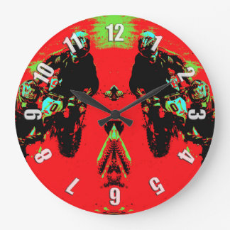 """""""Seeing Double"""" Motocross Racers Large Clock"""