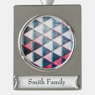 Seeing Double Triangle Design Silver Plated Banner Ornament