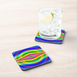 Seeing in Fluorescent Neon Fractal Beverage Coaster