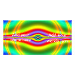 Seeing in Fluorescent Neon Fractal Customized Photo Card