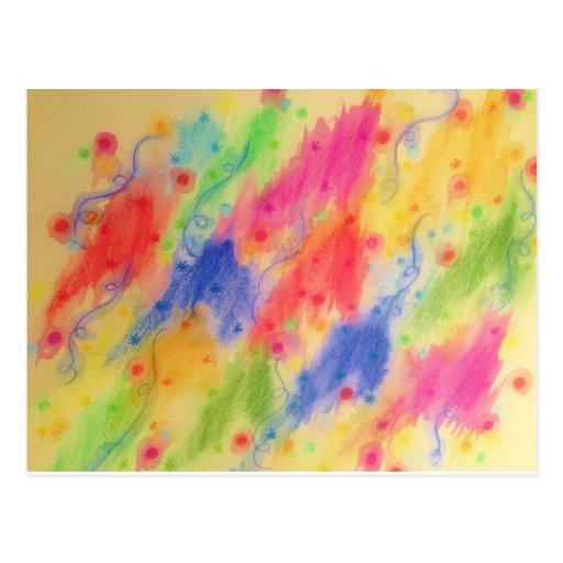 SEEING STARS 2 - Yellow Rainbow Pretty Starry Sky Postcard