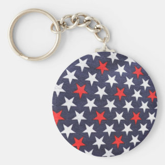 Seeing Stars. Red white and blue pattern. Keychain