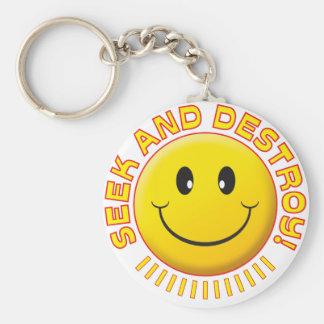 Seek And Destroy Smiley Basic Round Button Keychain