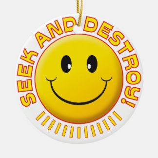 Seek And Destroy Smiley Christmas Ornament