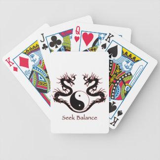 Seek Balance Yin Yang and Dragons Poker Cards