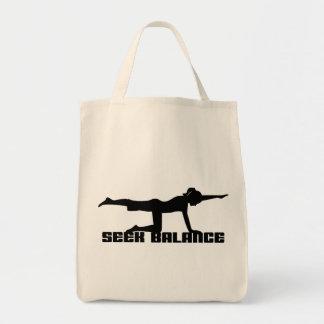 Seek Balance Yoga Gift Grocery Tote Bag